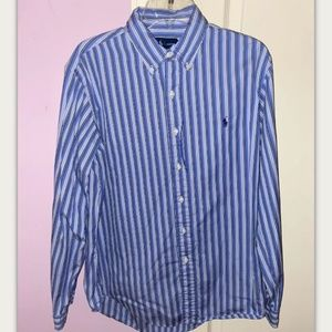 Mens SoBe RALPH LAUREN Polo Stripped Blue LS Dress